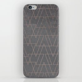 Modern rose gold geometric triangles blush pink abstract pattern on grey cement industrial iPhone Skin