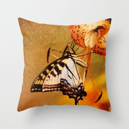 Swallowtail Butterfly and Tiger Lily Throw Pillow