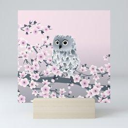 Cute Owl and Cherry Blossoms Pink Gray Mini Art Print