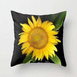 Summer Yellow Sunflower, Scanography Art, Flowers Throw Pillow