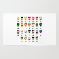 alphabet Area & Throw Rugs featuring Superhero Alphabet by PixelPower