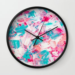 Modern bright candy pink turquoise pastel brushstrokes acrylic paint Wall Clock