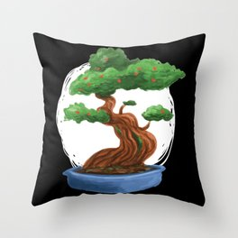 Bonsai Tree painting with red blossoms Throw Pillow