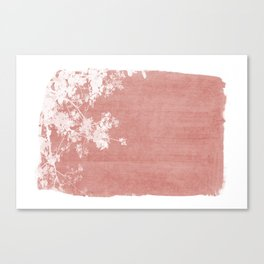 Red Paint Stroke of Flowering Tree Foliage Canvas Print