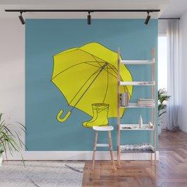 rainy day, Yellow umbrella and rain boots Wall Mural