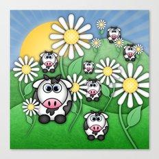 Cows & Daisies  Canvas Print