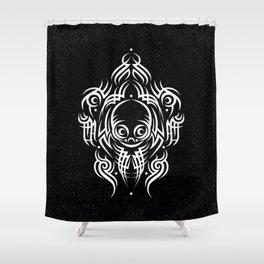 Alien Tribal Tattoo - white Shower Curtain