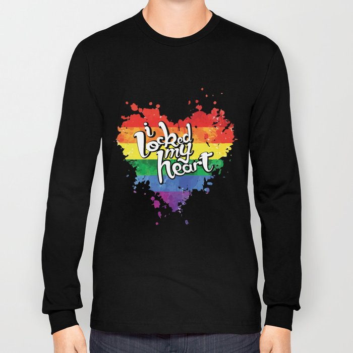 f852d1ac Couple Matching T-Shirt Locked My Heart Pride LGBT Shirts Long Sleeve T-  shirt