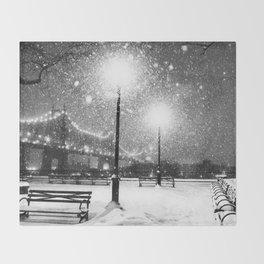 New York City Night Snow Throw Blanket