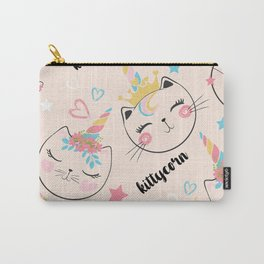Cute cat unicorn pattern illustration for kids Carry-All Pouch
