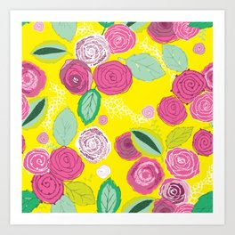 Belles Fleurs - roses bright pattern Art Print