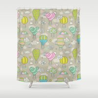 hot air balloons Shower Curtains featuring Hot air balloons by Anna Alekseeva kostolom3000