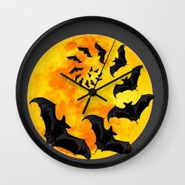 HALLOWEEN BAT INFESTED HAUNTED MOON ART DESIGN Wall Clock