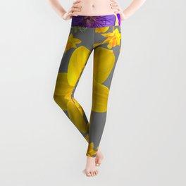 SPRING PURPLE  FLOWERS DAFFODIL ART DESIGN Leggings