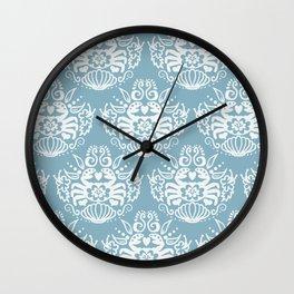 Crab Seafoam Aqua Damask Wall Clock