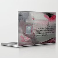 religious Laptop & iPad Skins featuring The Door----Religious Abstract Art --- John 10:9 --- by Saribelle Rodriguez by Saribelle Inspirational Art