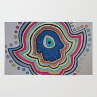 evil eye Area & Throw Rugs featuring Evil Eye - hand by Layal Chemaitelly