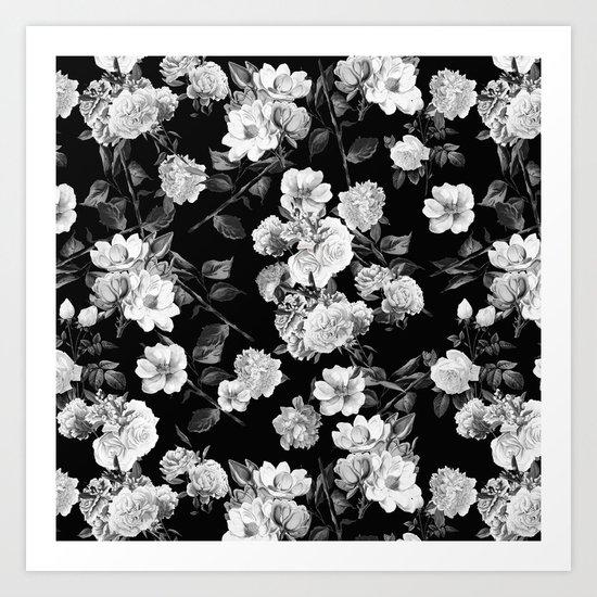 Black and White Botanic Pattern Art Print