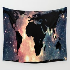 World Map Mauve & Teal Space Wall Tapestry