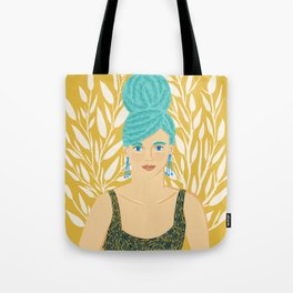 Big Hair with White Floral Tote Bag