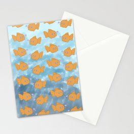Cute Repeating Gold Fish Stationery Cards