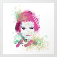 water colour Art Prints featuring water colour lady by rebeccalbe