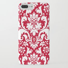 Paisley Damask Red and White Pattern iPhone Case
