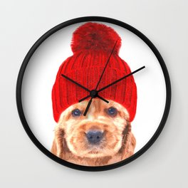 Cocker spaniel puppy with hat Wall Clock