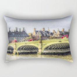 Westminster Bridge and London Buses Art Rectangular Pillow