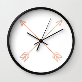 Rose Gold Arrows on White Wall Clock
