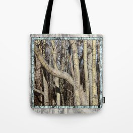 CROWDED GNARLED ASPEN TREES ON CRESCENT BEACH Tote Bag