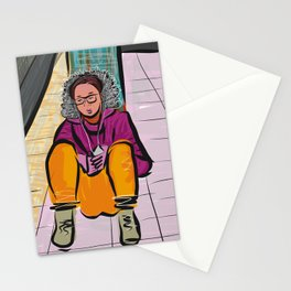 Subway Portrait All Alone Stationery Cards