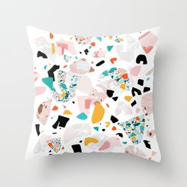 Mixed Mess I. / Collage, Terrazzo, Colorful Throw Pillow