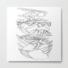 Alec and Echo Lake :: Single Line Metal Print