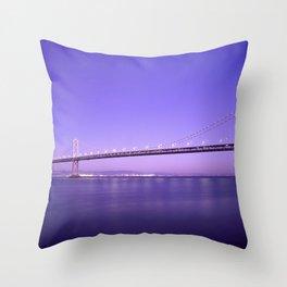 San Francisco - Oakland Bay Bridge at Night Throw Pillow