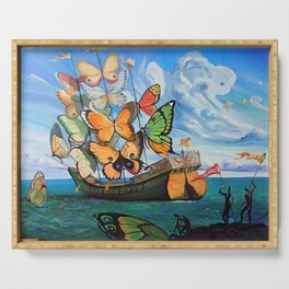 Salvador Dalí - Ship with butterfly sails Serving Tray