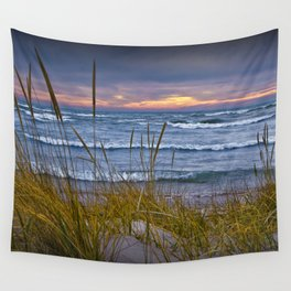 Sunset Photograph of a Dune with Beach Grass at Holland Michigan No 0199 Wall Tapestry