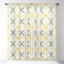 Shiny bright yellow sun Sheer Curtain