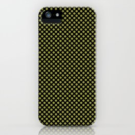 Black and Golden Lime Polka Dots iPhone Case