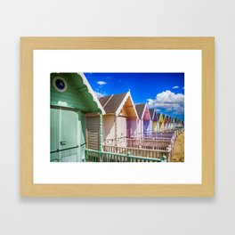 Pastel Beach Huts 3 Framed Art Print