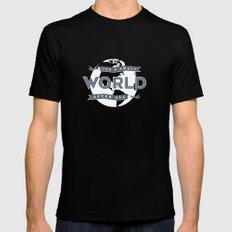 Its A Small World  Black Mens Fitted Tee MEDIUM