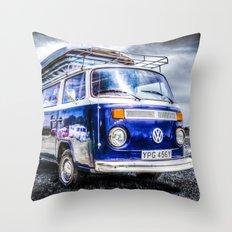 Blue VW campervan Throw Pillow