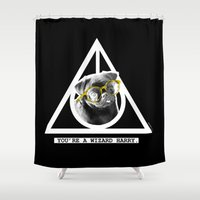 deathly hallows Shower Curtains featuring PUG SUKI - DEATHLY HALLOWS - 1 by Suki and the City