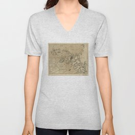 Vintage Boston Revolutionary War Map (1775) Unisex V-Neck