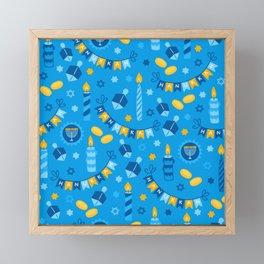 Happy Hanukkah Banner Pattern Framed Mini Art Print
