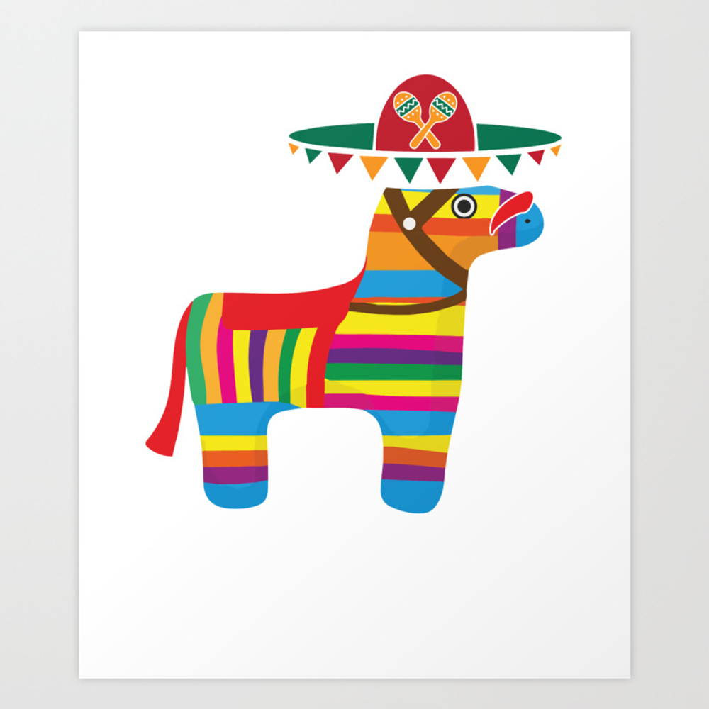 Pinata With Sombrero Mustache Cinco De Mayo Art Print by Teepsy PRN8927497
