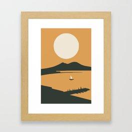 Big moon bay Framed Art Print