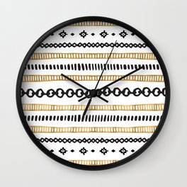Black and Gold Pattern Wall Clock