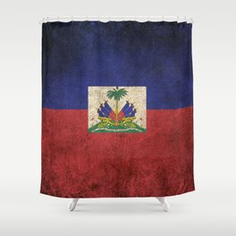 Old and Worn Distressed Vintage Flag of Haiti Shower Curtain