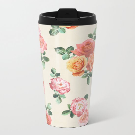 Retro Peach and Pink Roses Metal Travel Mug